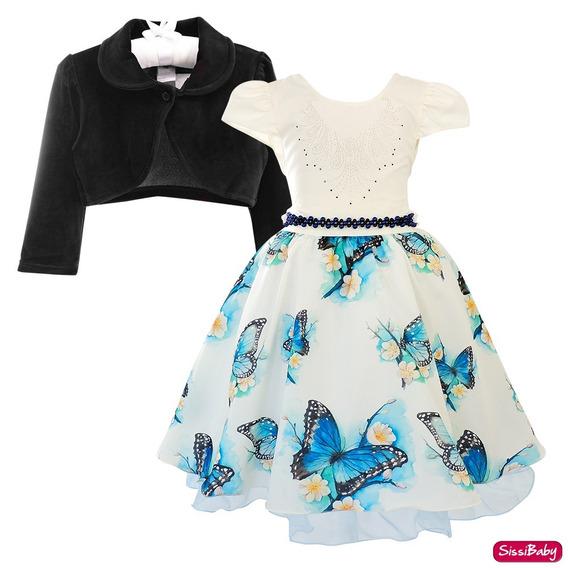 Vestido Floral Luxo Princesa Infantil Carinha Anjo E Bolero