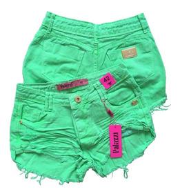 Shorts Jeans Palazzi Destroyed Verde Neon Pronta Entrega