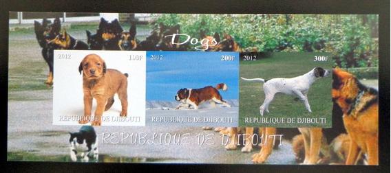 Djibouti Perros, Bloque 3 Sellos S Dentar 2012 Mint L7454