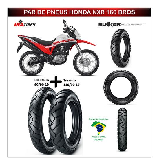 Par Pneu Honda Nxr 160 Bros 160 Dianteiro Traseiro