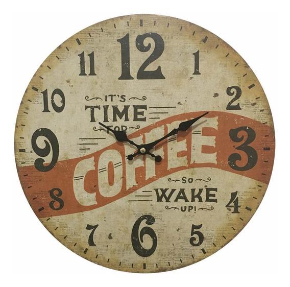 Relógio De Parede Em Madeira Coffee