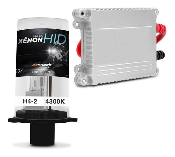 Kit Xênon Moto Completo H4-2 4300k 12v Reator Anti Flicker