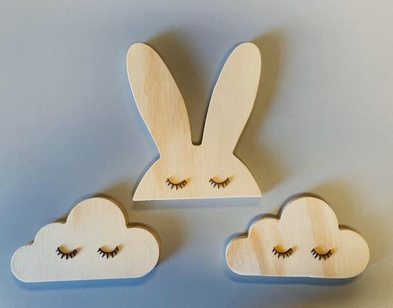 Kit 3 Pzs Nube Conejo Decoración Recamara Casa Hogar
