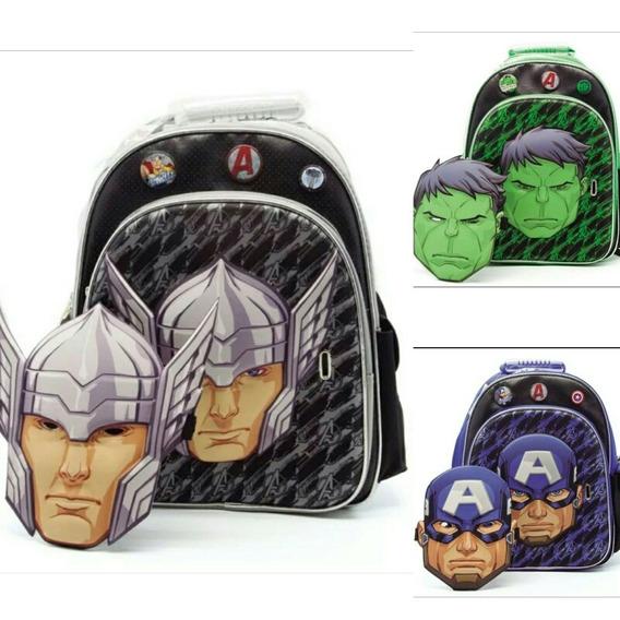 Mochila Thor Hulk Capitan América 16 Con Máscara Originales