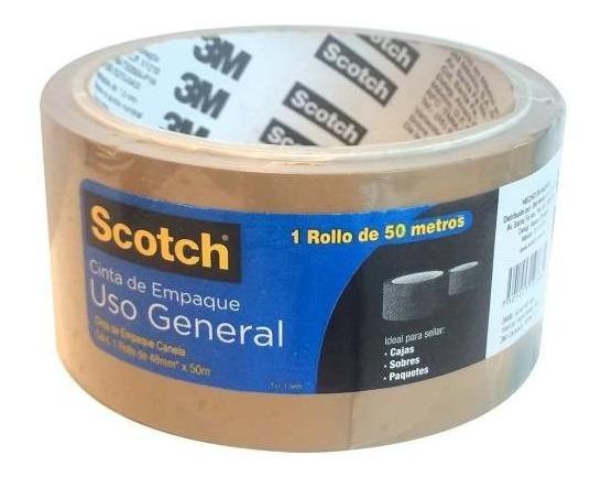 3m Scotch Cinta De Empaque Canela 48 Mm X 50 M