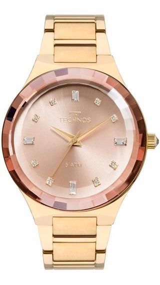 Relogio Technos Feminino Elegance 2036mjk/4t Dourado Crystal