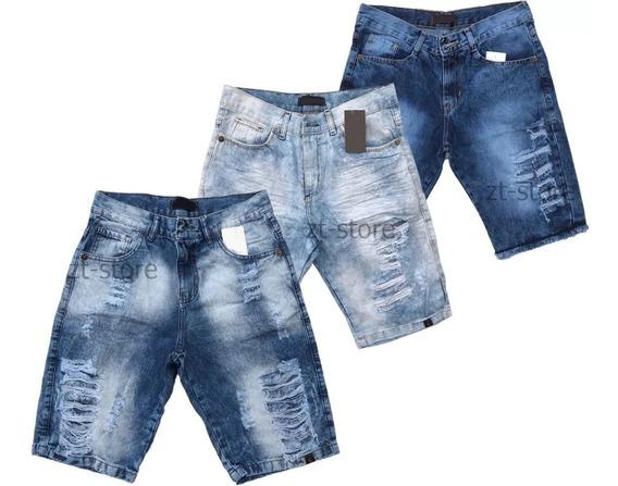 Kt 3 Bermudas Shorts Jeans Rasgada Desfiada Lançamento 2019