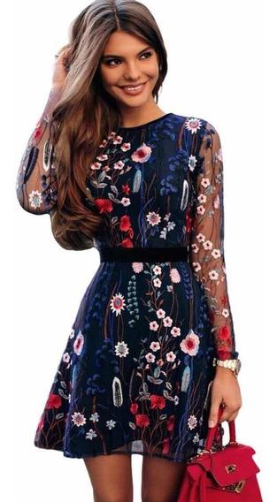 Vestido Bordado Elegante Fiesta Azul Flores