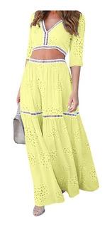 Conjunto Maxi Vestido Floreado Color (amarillo) 2 Prendas M