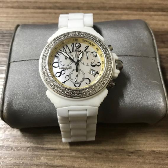 Relogio Lancaster De Cerâmica Chronograph 38mm 112 Diamantes