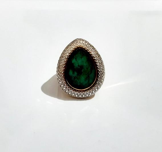 Anel Esmeralda Nº 17 Pedra Natural Folheado Ouro 18k Nfe