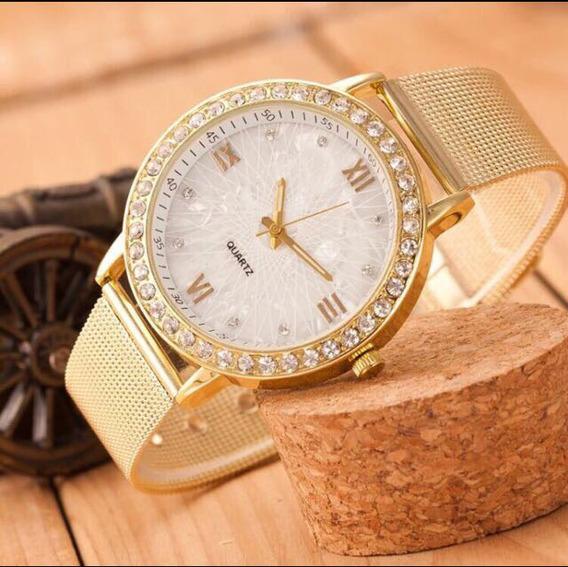 Relógio Dourado Com Pedras De Strass, Ótima Qualidade!