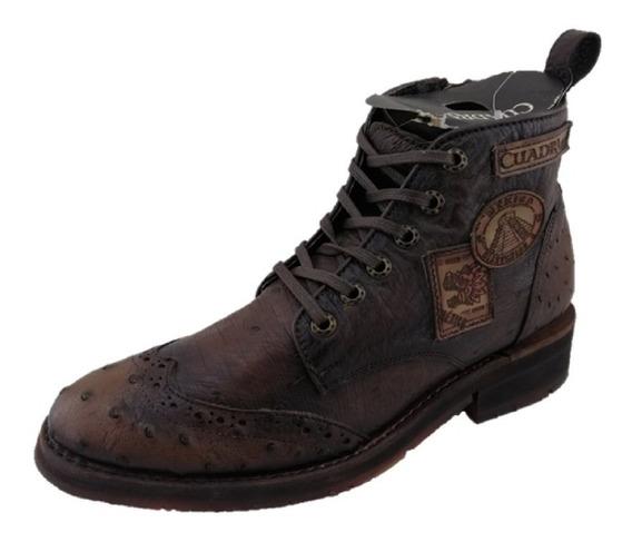 Zapato Botín Bostoniano Cuadra Hombre Piel Avestruz Tabaco