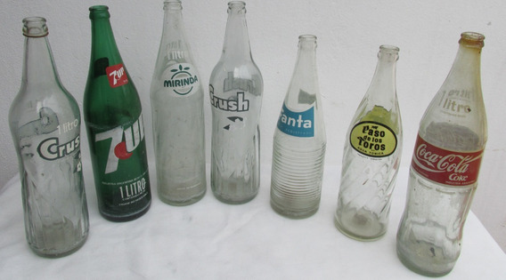 Antiguas Botellas Gaseosas, Lote Por 7, Coca, Crush, 7up #l