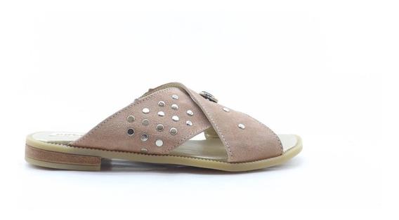 Sandalias Dama Mujer Cruzadas Zueco Verano Gamuza Apliques