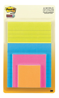Pack De Notas Post-it Super Adhesivas Colección Rio Mix X 4