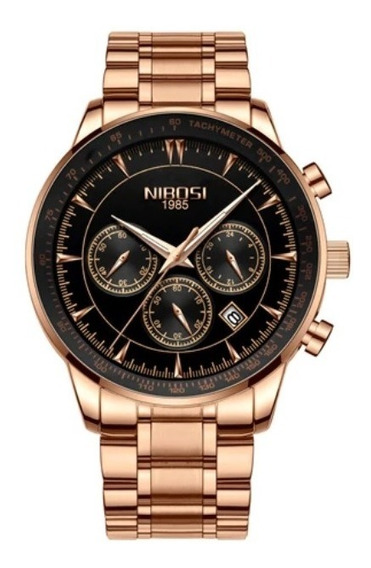 Relógio Masculino Nibosi 2357 Original 30 Metros Dourado Ros