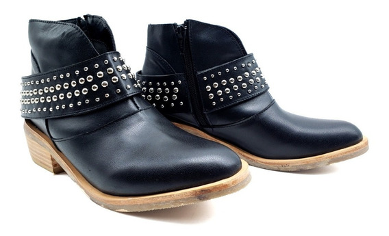 Botineta Zapato Bota Cuero Hebilla Moda Mujer Suela Goma Pm