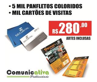 5000 Panfletos 10x14cm + 1000 Cartões De Visita Arte Inclusa