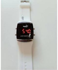01 Relógio Digital Unissex Pulseira Branca Em Silicone.