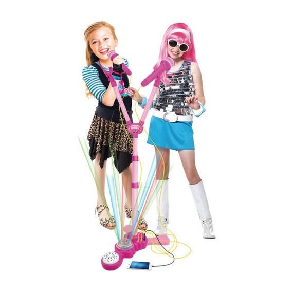 Microfone Duplo Com Pedestal Rocky Girl Meninas Brinquedo