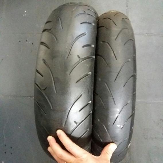 Par Pneus Bridgestone Cb300 Fazer Twister Usado Sem Frisar