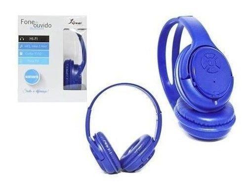 Fone De Ouvido Bluetooth Stereo Micro Sd Mp3 Rádio Fm Azul