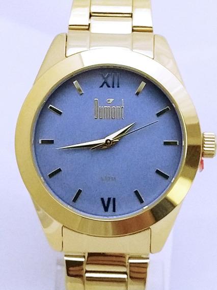 Relógio Dumont Feminino Fundo Azul Dourado Du2036lvd/4a