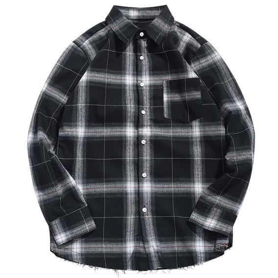 Longo Manga Botão Acima Plaid Casual Camisa