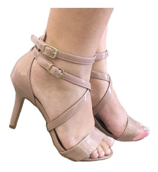 Sandalia Feminina Salto Medio Salto Fino Nude Rosê Saltos Sandalias Sapatos Femininos Festa Casamento Baladas Promocao