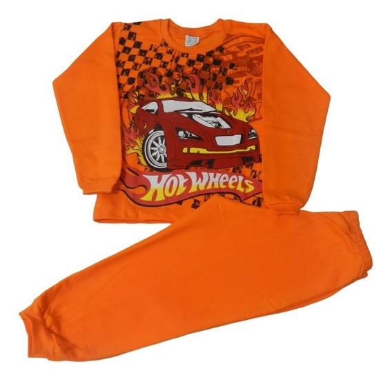 Pijama Infantil Carros Hot Wheels - Flanelado + Quentinho
