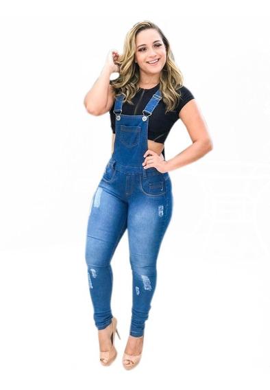 Jardineira Calça Jeans Macacão Lycra Moda Blogueira
