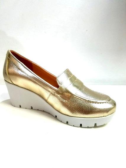 Mocasín Para Dama Manet 294-05 Corte Sintético Color Oro