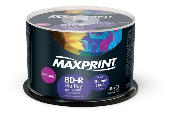 50 Mídias Maxprint Blu-ray 25gb 6x Printable Lacrado Bd-r