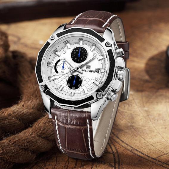Reloj Hombre Cronografo Megir Formal - Original Importado