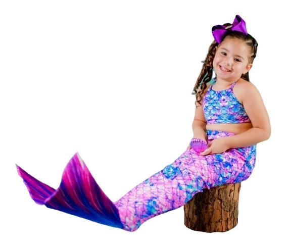 Cauda De Sereia Com Nadadeira + Biquíni Infantil - Promoção