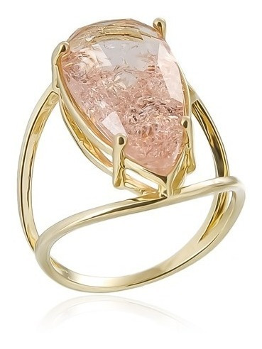 Anel Ballance Semi-joia Com Pedra Rosé