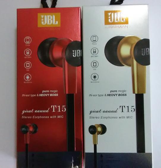Audifonos Jbl Manos Libres 3.5 Modelo T-15 Dorados Rojo