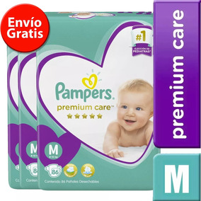 3 Paquetes Pañales Pampers Premium Care 258 Unidades Talla M