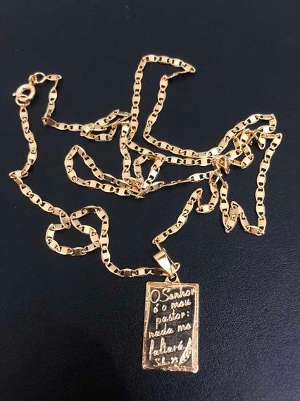Corrente Cordão Piastrine Banhado A Ouro 18k 70cm