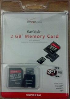 Tarjeta De Memoria Sandisk De 2 Gb Con Adaptadores