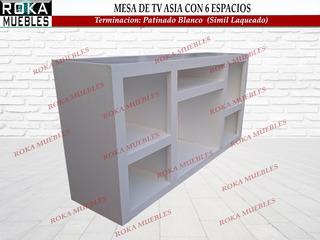 Mesa De Tv Asia Con 6 Espacios 1.20x0.30x0.60 Patinado