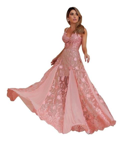 Vestido Longo Madrinha Festa Casamento Formatura Renda