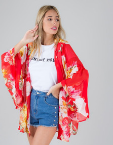 Kimono Rojo Transparente Estampado Floral