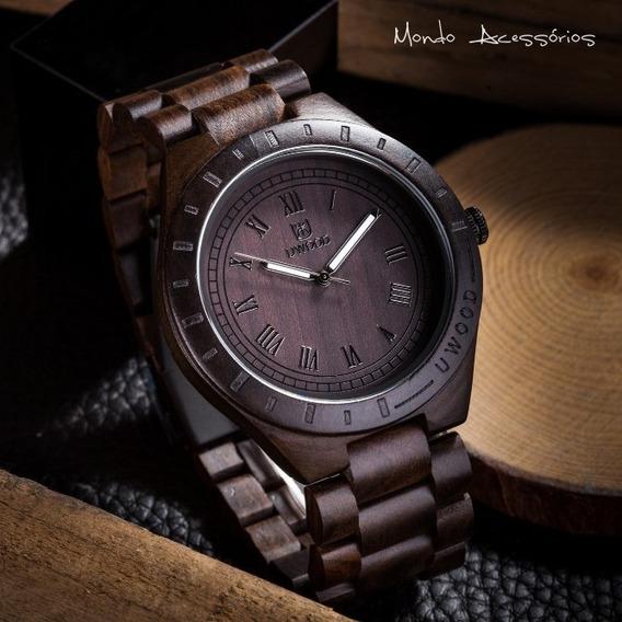 Relógio Pulso De Madeira Masculino Unissex Original Uwood