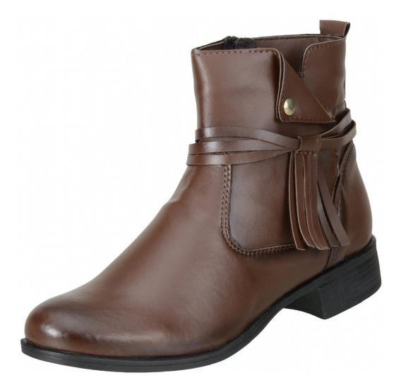 Bota Cano Curto Feminina Ankle Boot Atacador Pret Marrom 306