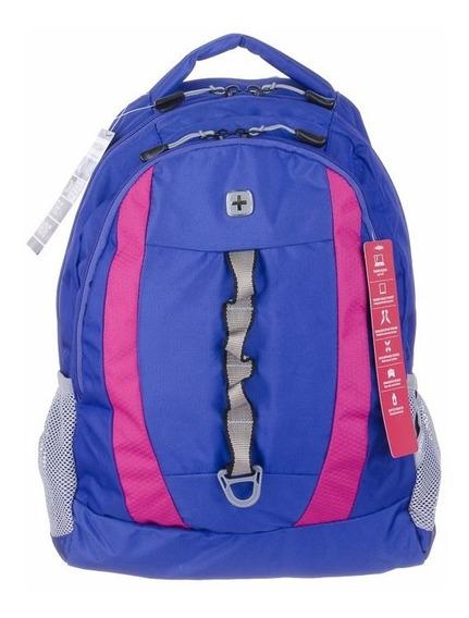 Mochila Swissgear Porta Notebook 15 Pulgadas Azul/rosa