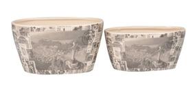 Conjunto Vaso Decorativo Cachepots De Cerâmica - 2 Peças