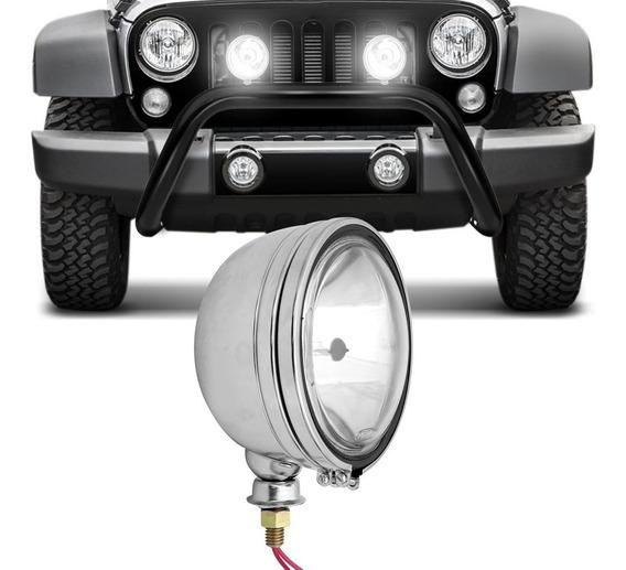 Farol Milha Aço Cromado Redondo Jeep Off Road Universal