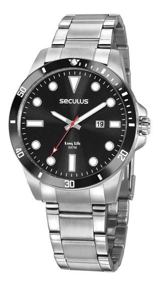Relógio Masculino Prata Todo Em Aço Seculus 20789g0svna1